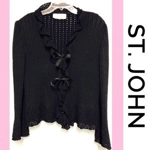 ST. JOHN COLLECTION Black Knit Tie Sweater 4